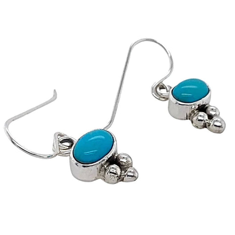 Image of Native American Earrings - Navajo Sleeping Beauty Turquoise Dainty Dangle Earrings- Shirley Henry