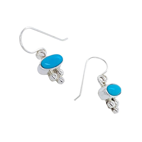 Image of Native American Earrings - Navajo Sleeping Beauty Turquoise Dainty Dangle Earrings- Shirley Henry - Native American