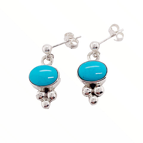 Image of Native American Earrings - Navajo Sleeping Beauty Turquoise Dainty Post Earrings- Shirley Henry