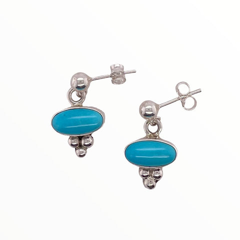 Image of Native American Earrings - Navajo Sleeping Beauty Turquoise Dainty Post Earrings- Shirley Henry (Horizontal)