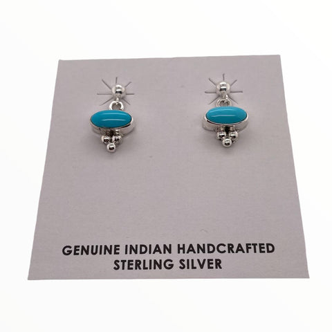 Native American Earrings - Navajo Sleeping Beauty Turquoise Dainty Post Earrings- Shirley Henry (Horizontal)