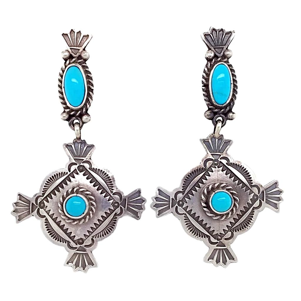 Native American Earrings - Navajo Sleeping Beauty Turquoise Stamped Sterling Dangle Earrings - Mike Calladitto