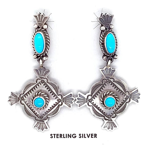 Image of Native American Earrings - Navajo Sleeping Beauty Turquoise Stamped Sterling Dangle Earrings - Mike Calladitto
