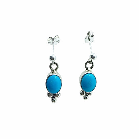 Native American Earrings - Navajo Sleeping Beauty Turquoise Vertical Oval Stone Dainty Post Earrings- Shirley Henry - Native American