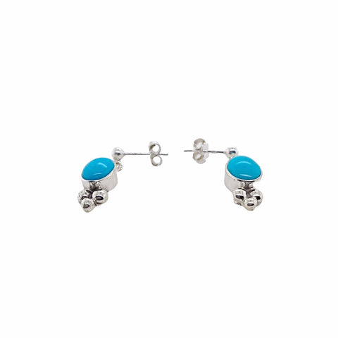 Image of Native American Earrings - Navajo Sleeping Beauty Turquoise Vertical Oval Stone Dainty Post Earrings- Shirley Henry - Native American