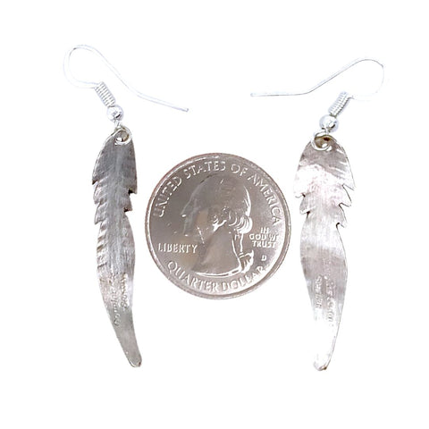 Image of Native American Earrings - Navajo Small Feather Sterling Silver Dangle Earrings - Douglas Edsitty