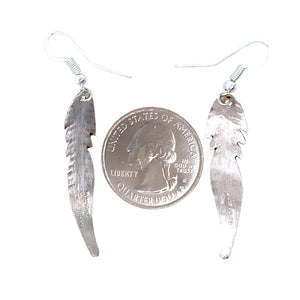 Native American Earrings - Navajo Small Feather Sterling Silver Dangle Earrings - Douglas Edsitty