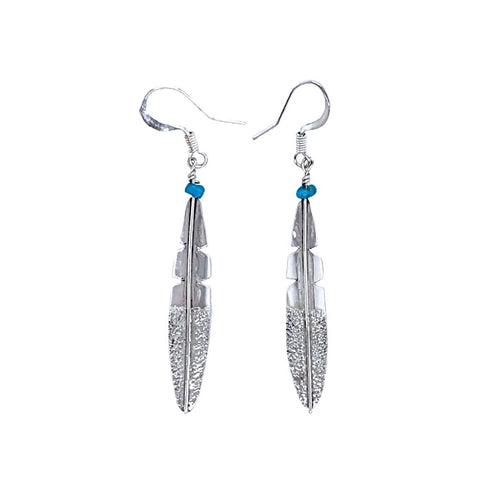 Image of Native American Earrings - Navajo Small Feather Turquoise Sterling Silver Dangle Earrings - Native American