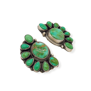 Native American Earrings - Navajo Sonoran Turquoise Cluster Earrings