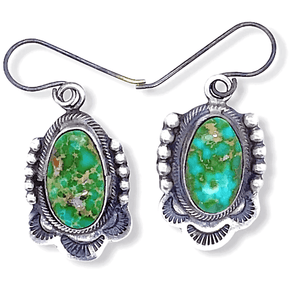 Native American Earrings - Navajo Sonoran Turquoise Oval Earrings - E. Spencer