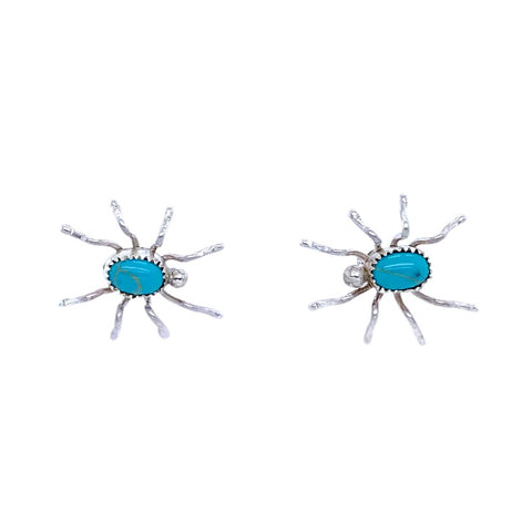 Native American Earrings - Navajo Spider Turquoise Sterling Silver Stud Earrings - A. Spencer - Native American