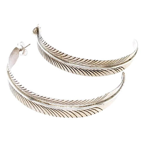 Image of Native American Earrings - Navajo Sterling Feather Hoop Earrings - Aaron Davis