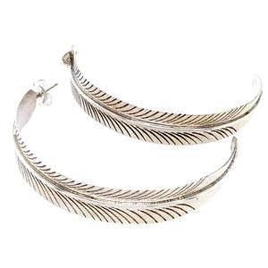Native American Earrings - Navajo Sterling Feather Hoop Earrings - Aaron Davis