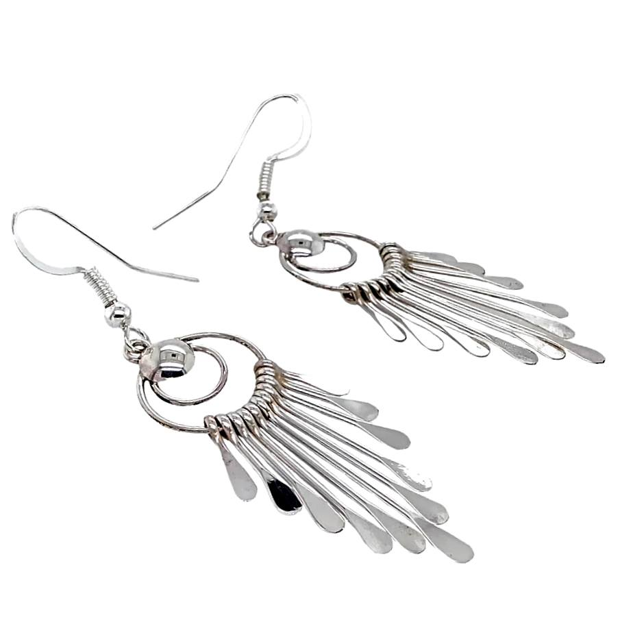 Native American Earrings - Navajo Sterling Silver Chandelier Dangle Earrings