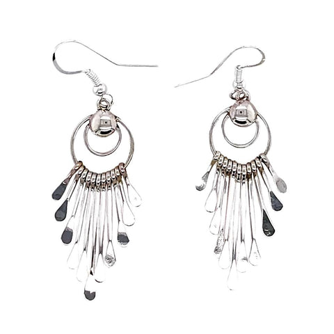 Image of Native American Earrings - Navajo Sterling Silver Chandelier Dangle Earrings