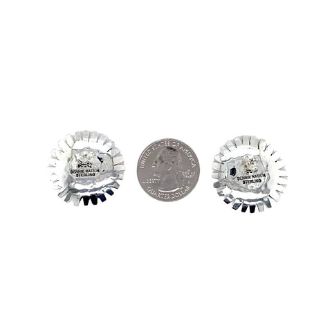 Native American Earrings - Navajo Sunface Engraved Sterling Silver Post Earrings - Bennie Ration - Native American
