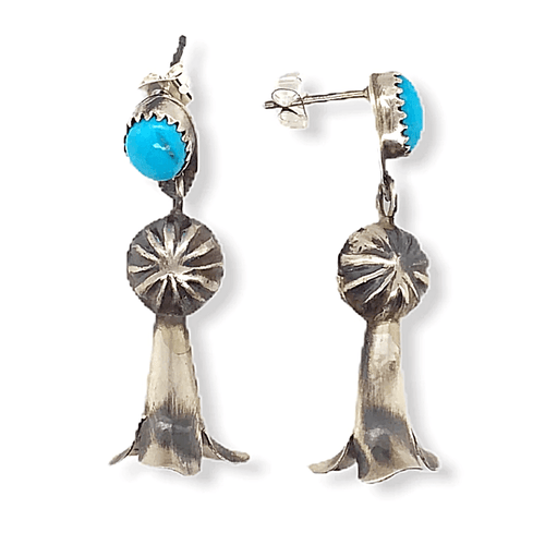 Native American Earrings - Navajo Turquoise Blossom Earrings -Dangle Post