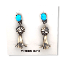 Load image into Gallery viewer, Native American Earrings - Navajo Turquoise Blossom Earrings -Dangle Post
