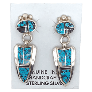 Native American Earrings - Navajo Turquoise, Created Opal, And Onyx Arrowhead Sterling Silver Earrings