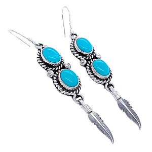 Native American Earrings - Navajo Turquoise Feather Dangle Earrings