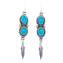Load image into Gallery viewer, Native American Earrings - Navajo Turquoise Feather Dangle Earrings