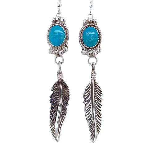 Image of Native American Earrings - Navajo Turquoise Feather Sterling Silver Dangle Earrings - George Begay