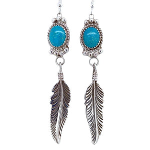 Native American Earrings - Navajo Turquoise Feather Sterling Silver Dangle Earrings - George Begay