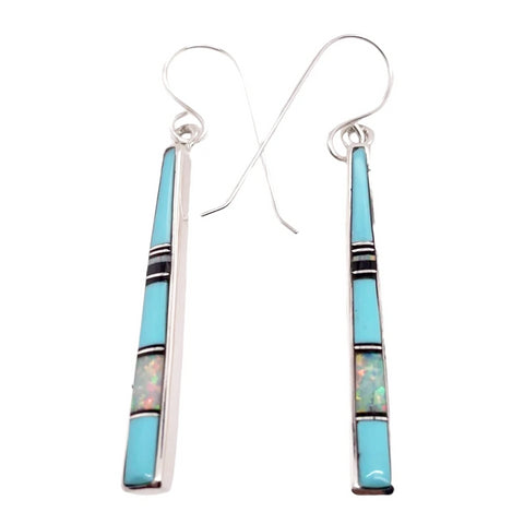 Native American Earrings - Navajo Turquoise, Jet, Created Opal Earrings- Rick Tolino