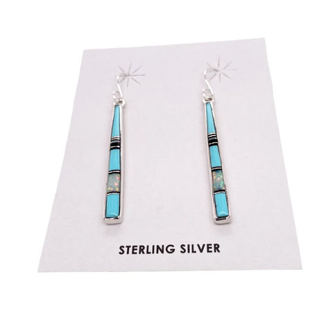 Image of Native American Earrings - Navajo Turquoise, Jet, Created Opal Earrings- Rick Tolino