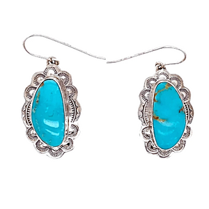 Native American Earrings - Navajo Turquoise Mountain Oblong Sterling Silver Embellished Earrings