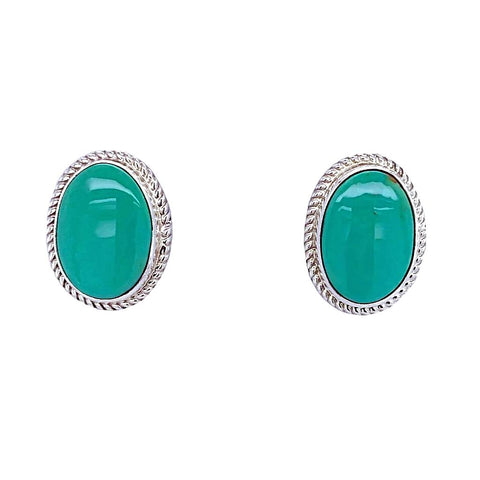 Native American Earrings - Navajo Turquoise Sterling Silver Post Earrings - Native American