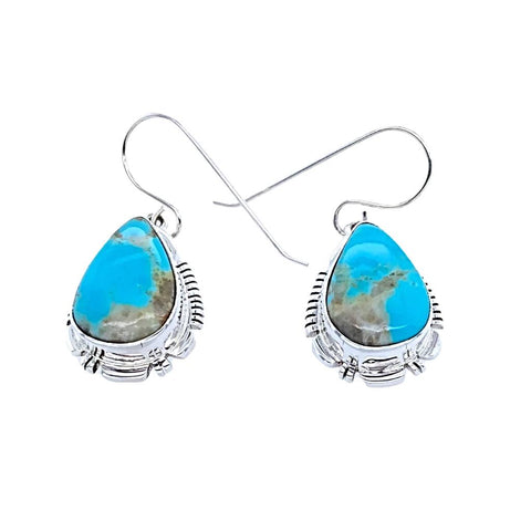 Native American Earrings - Navajo Turquoise Sterling Silver Teardrop Dangle Earrings - Leo - Native American