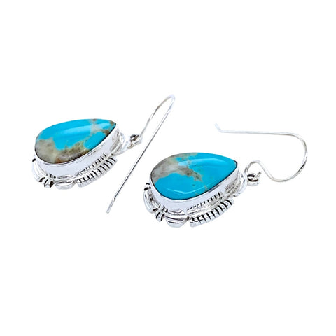 Image of Native American Earrings - Navajo Turquoise Sterling Silver Teardrop Dangle Earrings - Leo - Native American