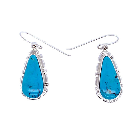 Image of Native American Earrings - Navajo Turquoise Sterling Silver Teardrop Dangle Earrings - Native American