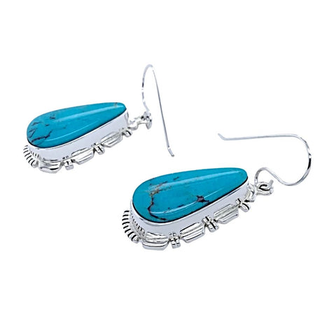 Native American Earrings - Navajo Turquoise Sterling Silver Teardrop Dangle Earrings - Native American