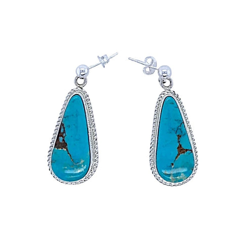 Image of Native American Earrings - Navajo Turquoise Sterling Silver Teardrop Dangle Post Earrings - Native American