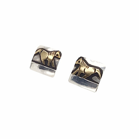 Image of Native American Earrings - Original Tommy Singer Horse 12K Gold Fill Sterling Silver Post Earrings - Navajo - Native American