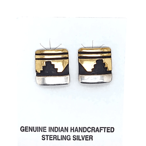 Image of Native American Earrings - Original Tommy Singer Navajo Abstract Desertscape In Silver And 12K Gold Earrings