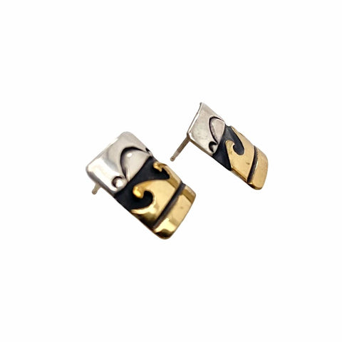 Image of Native American Earrings - Original Tommy Singer Waves 12K Gold Fill Sterling Silver Post Earrings - Navajo - Native American