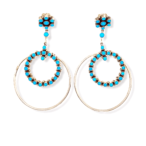 Image of Native American Earrings - Sleeping Beauty Turquoise Sterling Silver Hoop Earrings - Navajo