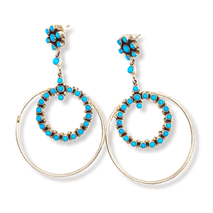 Native American Earrings - Sleeping Beauty Turquoise Sterling Silver Hoop Earrings - Navajo