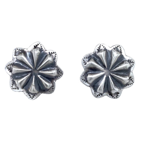 Image of Native American Earrings - Small Navajo Flower Oxidized Sterling Silver Post Earrings