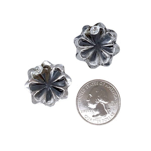 Native American Earrings - Small Navajo Flower Oxidized Sterling Silver Post Earrings