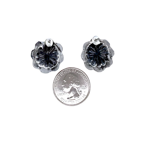 Image of Native American Earrings - Small Navajo Oxidized Sterling Silver Post Earrings