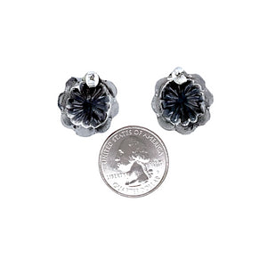 Native American Earrings - Small Navajo Oxidized Sterling Silver Post Earrings