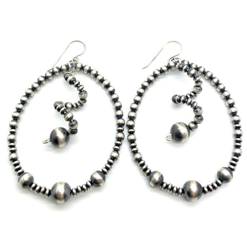 Native American Earrings - Spiraled Hoop Navajo Pearl Earrings Sterling Silver
