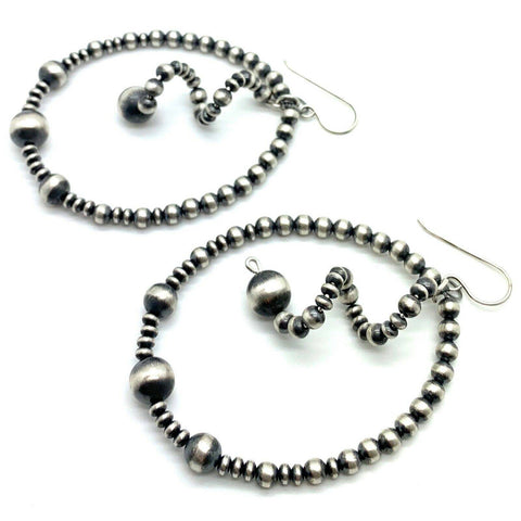 Image of Native American Earrings - Spiraled Hoop Navajo Pearl Earrings Sterling Silver