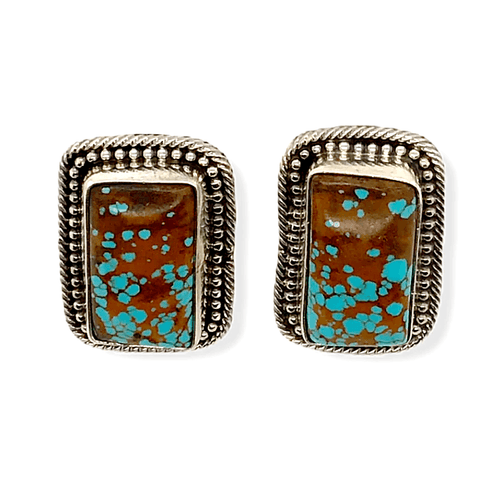 Native American Earrings - Square #8 Turquoise Earrings Signed By Navajo Artist Sheila Becenti