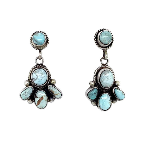 Native American Earrings - Stunning Navajo Dry Creek Turquoise Cluster Dangle Post Earrings -Eleanor Largo - Native American