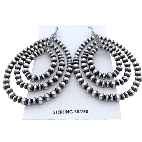Image of Native American Earrings - Three-Tier Navajo Pearl Sterling Silver Earrings